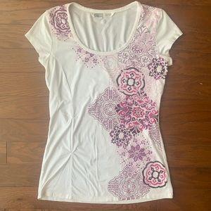 Athleta | Scoopneck Short Sleeve Tee Pink Design S